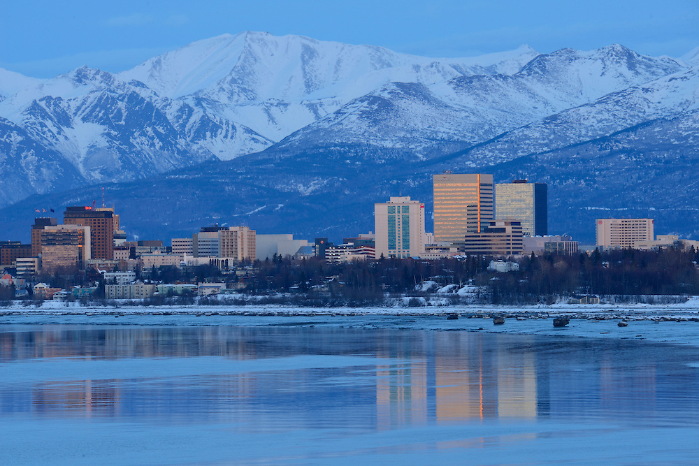 Skyline of the city of anchorage with Alaska,USA