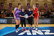 ANZ Future Captains Xanthea Greaves aged 12 and Ashleigh Greaves aged 12 pose for a photo with Grace Kara of the Stars and Jane Watson of the Tactix prior to the match. 2018 ANZ Premiership netball match, Stars v Tactix at Pulman Arena, Auckland, New Zealand. 18 June 2018 © Copyright Photo: Anthony Au-Yeung / www.photosport.nz