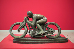 Sculpture Motorcyclist-Sunbeam by Otakar Svec at Museum of Modern Art or Veletrzni Palace Prague in Czech Republic