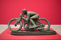 Sculpture Motorcyclist-Sunbeam by Otakar Svec at Museum of Modern Art or Veletrzni Palace Prague in Czech Republic