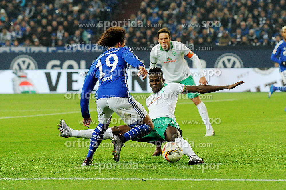 24.01.2016, Veltins Arena, Gelsenkirchen, GER, 1. FBL, Schalke 04 vs SV Werder Bremen, 18. Runde, im Bild Leroy Sane ( links Schalke 04 ) im Zweikampf mit Papy Djilobodji ( rechts SV Werder Bremen ) // during the German Bundesliga 18th round match between Schalke 04 and TSV Werder Bremen at the Veltins Arena in Gelsenkirchen, Germany on 2016/01/24. EXPA Pictures &copy; 2016, PhotoCredit: EXPA/ Eibner-Pressefoto/ Thienel<br /> <br /> *****ATTENTION - OUT of GER*****