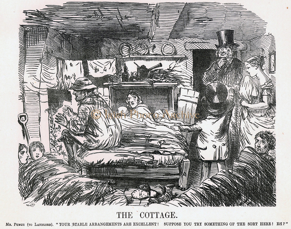 The Cottage': Mr Punch urging a country landowner to raise the standard of housing for his labourers at least to that of his horses. John Leech cartoon from 'Punch', London,  1861.