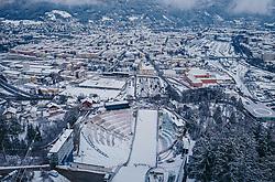 THEMENBILD - die Bergisel Schanze aus der Luft, aufgenommen am 03. Januar 2019 in Innsbruck, Österreich // Arial View of the Bergisel Hill with Stadium, Innsbruck, Austria on 2019/01/03. EXPA Pictures © 2019, PhotoCredit: EXPA/ JFK