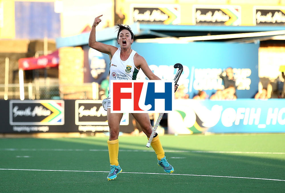 JOHANNESBURG, SOUTH AFRICA - JULY 16:  Candice Manuel of South Africa celebrates scoring the winning goal  during day 5 of the FIH Hockey World League Women's Semi Finals Pool B match between South Africa and United States of America at Wits University on July 16, 2017 in Johannesburg, South Africa.  (Photo by Jan Kruger/Getty Images for FIH)