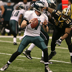 13 January 2007: Philadelphia Eagles quarterback Jeff Garcia (7) looks to pass during a 27-24 win by the New Orleans Saints over the Philadelphia Eagles in the NFC Divisional round playoff game at the Louisiana Superdome in New Orleans, LA. The win advanced the New Orleans Saints to the NFC Championship game for the first time in the franchise's history.