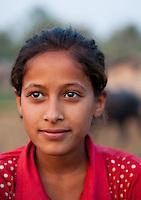 Nepalese girl smiling, Bardiya, Nepal