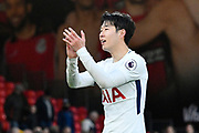 Son Heung-Min (7) of Tottenham Hotspur applauds, claps the Tottenham fans in celebration at full time after a 4-1 win over Bournemouth during the Premier League match between Bournemouth and Tottenham Hotspur at the Vitality Stadium, Bournemouth, England on 11 March 2018. Picture by Graham Hunt.