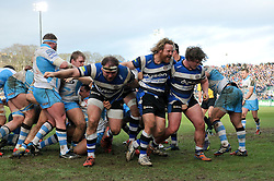 Ross Batty of Bath Rugby shows his delight as a strong Bath scrum results in a penalty try - Photo mandatory by-line: Patrick Khachfe/JMP - Mobile: 07966 386802 25/01/2015 - SPORT - RUGBY UNION - Bath - The Recreation Ground - Bath Rugby v Glasgow Warriors - European Rugby Champions Cup