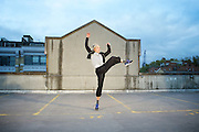 Dance Umbrella 2015 <br /> Launch <br /> Of Riders and Running Horses <br /> on the roof of the NCP car park Farringdon London Great Britain <br /> press photocall <br /> 13th October 2015 <br /> <br /> <br /> <br /> Tilly Webber <br /> <br /> <br /> Photograph by Elliott Franks <br /> Image licensed to Elliott Franks Photography Services