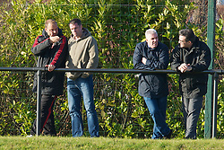 KIRKBY, ENGLAND - Tuesday, November 16, 2010: Liverpool's Jamie Carragher chats with Academy Under-18 coach Rodolfo Borrell as the reserves take on Blackpool during the FA Premiership Reserves League (Northern Division) match at the Kirkby Academy. (Pic by: David Rawcliffe/Propaganda)