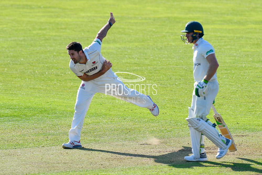 Tim Groenewald of Somerset bowling during the Specsavers County Champ Div 1 match between Somerset County Cricket Club and Worcestershire County Cricket Club at the Cooper Associates County Ground, Taunton, United Kingdom on 20 April 2018. Picture by Graham Hunt.