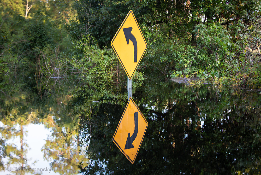 Flooded sign in Socastee, South Carolina following Hurricane Florence.