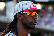 May 19, 2012; Detroit, MI, USA; Pittsburgh Pirates center fielder Andrew McCutchen (22) in the dugout during the eighth inning against the Detroit Tigers at Comerica Park. Pittsburgh won 4-3. Mandatory Credit: Rick Osentoski-US PRESSWIRE