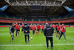 CARDIFF, WALES - Saturday, March 26, 2016: Wales' Chris Gunter, captain Ashley Williams and the squad during a training session at the Millennium Stadium ahead of the International Friendly match against Ukraine. (Pic by David Rawcliffe/Propaganda)