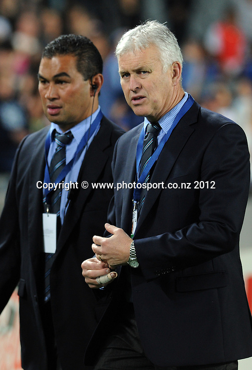 Blues coach Pat Lam and assistant Bryce Woodward during the Blues and Highlanders at Eden Park, Auckland, New Zealand on Saturday 26 May 2012. Photo: Andrew Cornaga/Photosport.co.nz