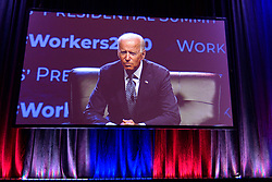 Democratic Presidential hopeful former Vice-President Joe Biden speaks at the Philadelphia Council AFL-CIO Workers' Presidential Summit, at the Pennsylvania Convention Center in Philadelphia, PA, on September 17, 2019.