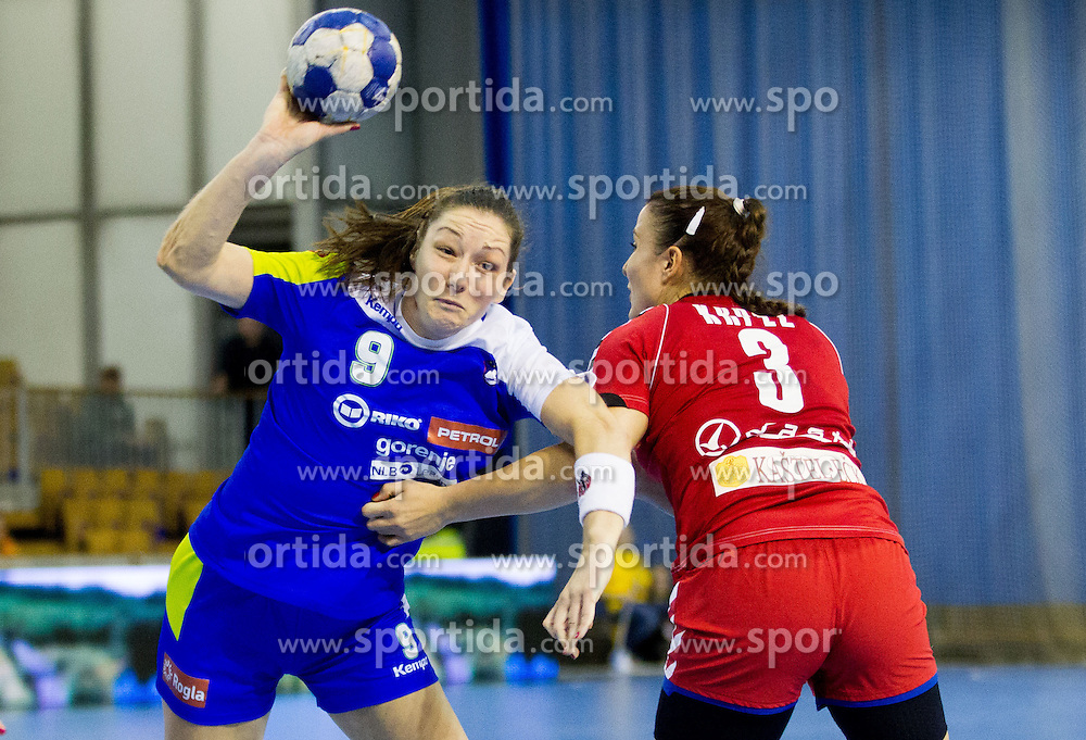 Nina Jericek of Slovenia vs Katarina Krpez of Serbia during handball match between Women National teams of Slovenia and Serbia in 2nd Round of Qualifications for 2014 EHF European Championship on October 27, 2013 in Hala Tivoli, Ljubljana, Slovenia. (Photo by Vid Ponikvar / Sportida)