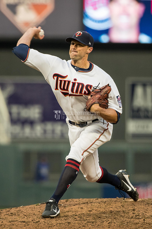 MINNEAPOLIS, MN- APRIL 3: Matt Belisle #9 of the Minnesota Twins pitches against the Kansas City Royals on April 3, 2017 at Target Field in Minneapolis, Minnesota. The Twins defeated the Royals 7-1. (Photo by Brace Hemmelgarn) *** Local Caption *** Matt Belisle