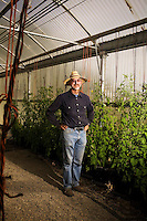 "DAVIS - APRIL 15:  Raoul Adamchak, a bio-gardener, in his greenhouse at UC Davis, in Davis, Ca., on Friday, April 15, 2011. He, and his wife, plant geneticist, Pamela Ronald, co-authored ""Tomorrow's Table: Organic Farming, Genetic and the Future of Food."""