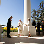 Pres. Bush and First Lady Laura Bush welcome Pope Benedict XVI on the South Lawn of the White House Wednesday, April 16, 2008...Photo by Khue Bui