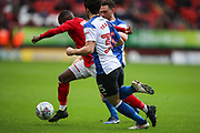 Charlton Athletic midfielder Mark Marshall (7) fights through the Blackburn Rovers defence during the EFL Sky Bet League 1 match between Charlton Athletic and Blackburn Rovers at The Valley, London, England on 28 April 2018. Picture by Toyin Oshodi.