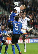 Andreas Cornelius and Federico Santander of Copenhagen and Stefano Denswil and Benoit Poulain of Brugge during the Champions League match between FC Copenhagen and Club Brugge at Parken Stadium, Copenhagen, Denmark on 27 September 2016. Photo by Andrew Halseid-Budd.
