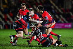 Alex Hearle of Worcester Warriors is tackled by Tyler Morgan of Dragons - Mandatory by-line: Craig Thomas/JMP - 02/02/2018 - RUGBY - Rodney Parade - Newport, Gwent, Wales - Dragons v Worcester Warriors - Anglo Welsh Cup