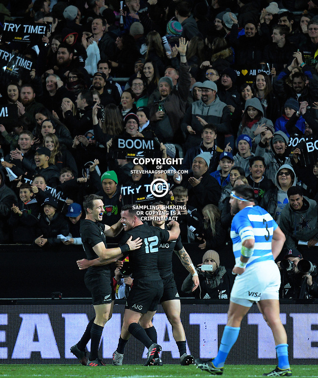 Ryan Crotty celebrates his try during The Rugby Championship match between the NZ All Blacks and Argentina Pumas at FMG Stadium in Hamilton, New Zealand on Saturday, 10 September 2016. Photo: Dave Lintott / lintottphoto.co.nz