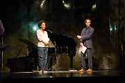 SOPHIE OKONEDO AND DAN STEVENS IN REHEARSAL,  'Cries from the Heart' presented by Human Rights Watch at the Theatre Royal Haymarket. London. Party afterwards at the Haymarket Hotel. June 8, 2008 *** Local Caption *** -DO NOT ARCHIVE-© Copyright Photograph by Dafydd Jones. 248 Clapham Rd. London SW9 0PZ. Tel 0207 820 0771. www.dafjones.com.