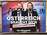 "Vienna, Austria. The morning after a scandalous video with extreme rightist politician and Vice Chancellor of Austria, Heinz-Christian Strache, surfaced, an unknown protester has added ""Nobody in"" to ""Austria needs you"" on a billboard of Strache's FPÖ for the upcoming E.U. elections with him and candidate Harald Vilimsky."