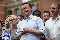 © Licensed to London News Pictures . 22/06/2016 . Birmingham , UK . DAVID CAMERON and TIM FARRON . British Conservative Party Prime Minister David Cameron , Tim Farron and Paddy Ashdown from the Liberal Democrat Party and Harriet Harman from the Labour Party , attend a joint rally at Birmingham University in support of the REMAIN in EU campaign , ahead of referendum polling opening tomorrow morning (23rd June 2016) . Photo credit: Joel Goodman/LNP