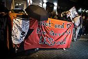 Frankfurt | 07 October 2016<br /> <br /> Am Freitag (07.10.2016) versammelten sich in Wetzlar etwa 80 Neonazis aus dem Umfeld der NPD, von neonazistischen Freien Kameradschaften, dem sog. Freien Netz Hessen und der Identit&auml;ren Bewegung zu einer Demonstration &quot;gegen &Uuml;berfremdung&quot;. Die geplante Demo-Route war von etwa 1600 Anti-Nazi-Aktivisten blockiert, daher wurde den Neonazis eine neue Demoroute durch Altstadt und Innenstadt von Wetzlar vorbei am Wetzlarer Dom zugewiesen. Auch hier stellten sich den Rechten immer wieder Aktivisten in den Weg.<br /> Hier: Neonazis aus dem Umfeld FN Hessen (Freies Netz Hessen) mit einem Transparent mit der Aufschrift &quot;Blut und &Ouml;l USrael.<br /> <br /> photo &copy; peter-juelich.com<br /> <br /> FOTO HONORARPFLICHTIG, Sonderhonorar, bitte anfragen!