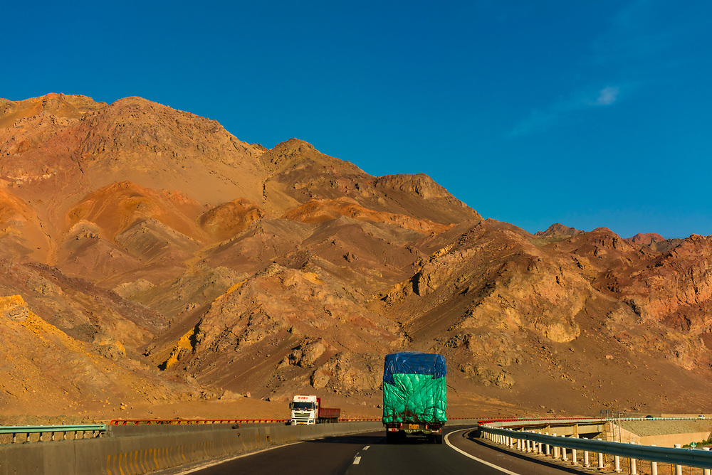 Highway between Turpan and Urumqi, Xinjiang Province, China.