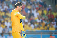 Hugo Lloris of France after losing 0-1 during the 2014 FIFA World Cup match between France and Germany at the Maracana Stadium, Rio de Janeiro<br /> Picture by Andrew Tobin/Focus Images Ltd +44 7710 761829<br /> 04/07/2014