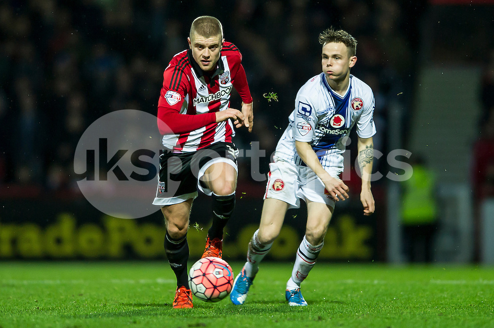 Jake Bidwell of Brentford during the The FA Cup third round match between Brentford and Walsall at Griffin Park, London, England on 9 January 2016. Photo by Salvio Calabrese.