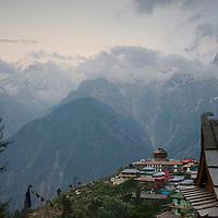 View of the village of Kalpa, with the Kinnaur Kailash mountain range further away.
