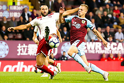 Matej Vydra of Burnley takes on Jagos Vukovic of Olympiakos - Mandatory by-line: Robbie Stephenson/JMP - 30/08/2018 - FOOTBALL - Turf Moor - Burnley, England - Burnley v Olympiakos - UEFA Europa League Play-offs second leg