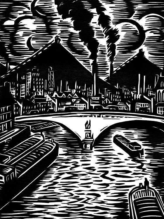 Een zwart/wit tekening van een brug over de rivier in de industriestad.