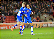 Nathaniel Mendez-Laing goal celebration during the Sky Bet League 1 match between Barnsley and Rochdale at Oakwell, Barnsley, England on 23 January 2016. Photo by Daniel Youngs.