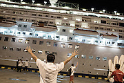 BALI, INDONESIA JAN 2015;<br />The Chrystal Symphony Cruise is leaving the Harbour in Bali next stop will be Jakarta Indonesia, Jan 2015<br />@Giulio Di Sturco