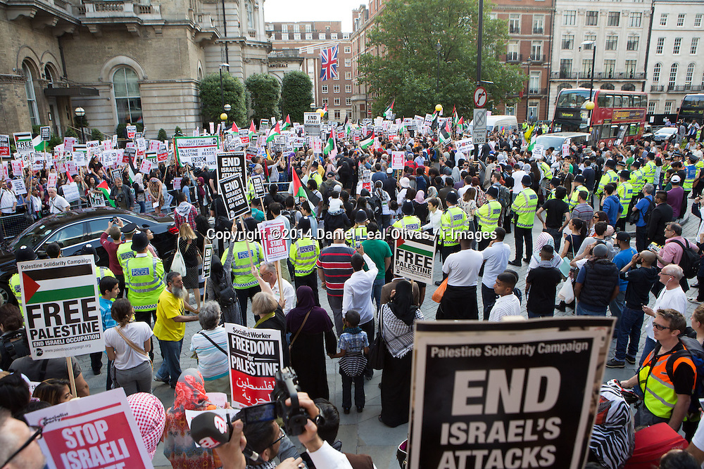 Image ©Licensed to i-Images Picture Agency. 15/07/2014. London, United Kingdom. Demonstration against BBC Israel-Palestine reporting. Demonstrators against Israeli strikes on Gaza in front of the BBC in a demonstration against their way of reporting the conflict. the BBC. Picture by Daniel Leal-Olivas / i-Images