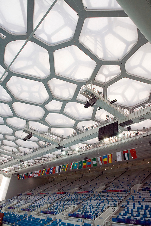 View of theNational Aquatic Center, the Water Cube in the Olympics green in Beijing, China, on Monday,  January. 28, 2008. Photographer: Bernardo De Niz