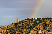 A rainbow at the Desert View Watchtower, Grand Canyon National Park.
