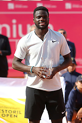 May 6, 2018 - Estoril, Portugal - Frances Tiafoe of US poses with the 2nd place trophy after lost the Millennium Estoril Open ATP 250 tennis tournament final against Joao Sousa of Portugal, at the Clube de Tenis do Estoril in Estoril, Portugal on May 6, 2018. (Joao Sousa won 2-0) (Credit Image: © Pedro Fiuza/NurPhoto via ZUMA Press)