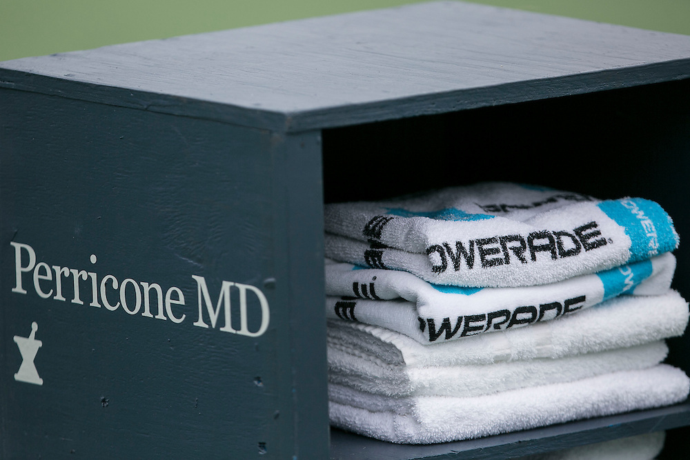 August 22, 2014, New Haven, CT:<br /> Powerade towel photo during a match between Camila Giorgi and Magdalena Rybarikova on day eight of the 2014 Connecticut Open at the Yale University Tennis Center in New Haven, Connecticut Friday, August 22, 2014.<br /> (Photo by Billie Weiss/Connecticut Open)