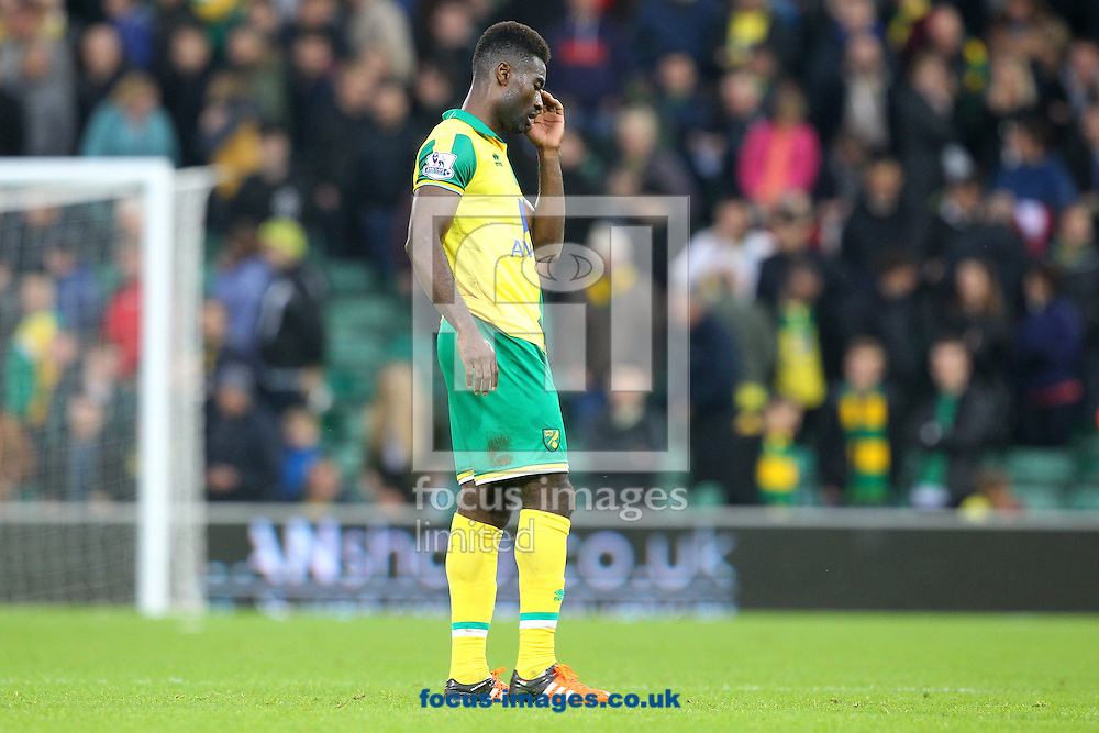 Alexander Tettey of Norwich looks dejected at the end of the Barclays Premier League match at Carrow Road, Norwich<br /> Picture by Paul Chesterton/Focus Images Ltd +44 7904 640267<br /> 24/10/2015