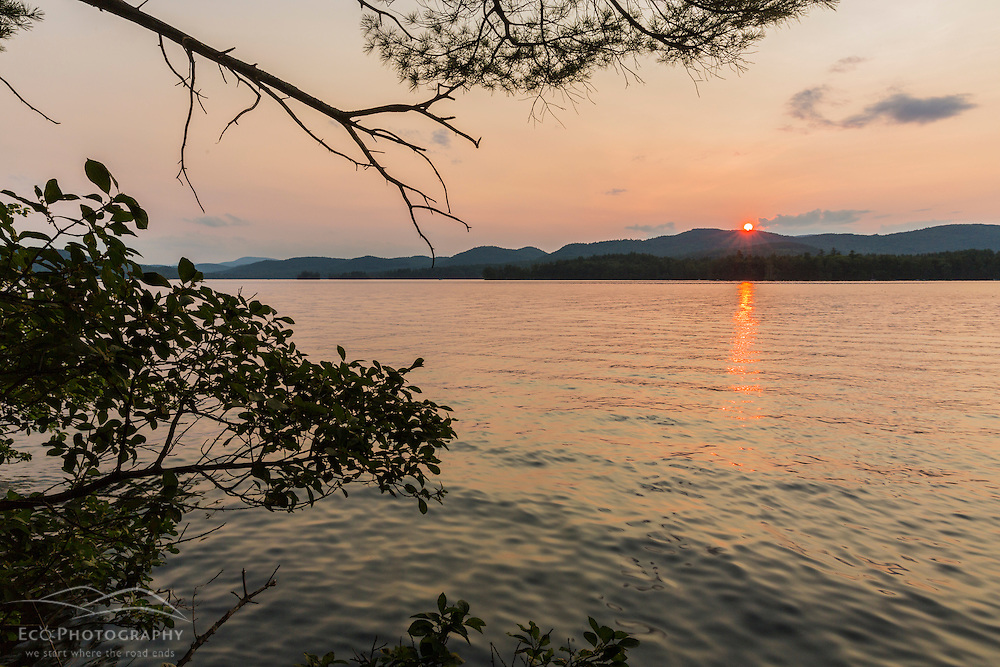 Sunset from Moon Island in Squam Lake. Holderness, New Hampshire.