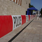 Police tape marks off a section of the European museum parking in Schengen.