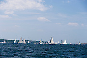 Gold Digger, Runaway, Glory, and Akubra sailing at the start of the Newport Bermuda Race 2010.