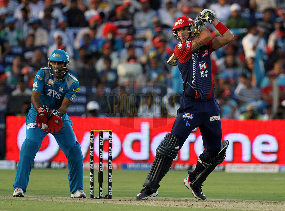 Delhi Daredevils player Kevin Pietersen plays a shot during match 31 of the Indian Premier League ( IPL) 2012  between The Pune Warriors India and the Delhi Daredevils held at the Subrata Roy Sahara Stadium, Pune on the 24th April 2012..Photo by Vipin Pawar/IPL/SPORTZPICS